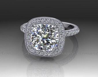 Cushion Cut Engagement Ring, Forever One Moissanite Wedding Ring, Halo Engagement Ring, 14K White Gold Diamond Ring, Charles Colvard Re00035