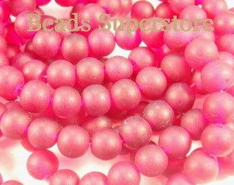 FINAL SALE 10 mm Ruby Frosted Round Glass Bead - 24 pcs