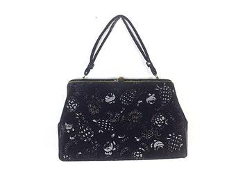 Velvet Purse  1950s Kelly Bag / Black Purse 60s Purse  Frame Purse / Structured Bag / Vintage Bags Purses / Women Bags Purses Handbags