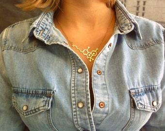 THC molecule necklace Marijuana necklace 14K gold necklace chemistry jewelry chemistry necklace minimalist jewelry for women
