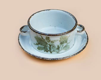 Midwinter Stonehenge 'Green Leaves' Soup Bowl and Plate (set of 3)