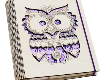 Personalized Owl wooden cover notebook A5 lined ruled pages. Refillable sketchbook on coil staples