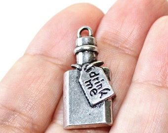 2 Drink Me Charms Antique Silver Tone - CH606