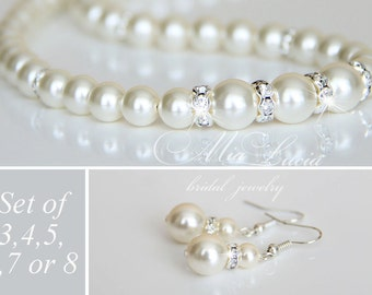 Bridesmaid Pearl Jewelry set of three, set of four, set of five, set of six, set of seven Pearl Earrings Necklace set of 3,4,5,6,7,8 e39-n02