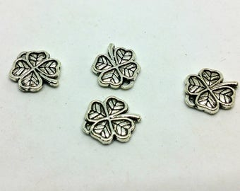 Silver x 1 charm - clover good luck happiness - metal - jewelry customization