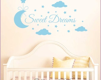 SWEET DREAMS with Moon, Clouds & Stars Vinyl Wall Decal Baby Nursery Sticker Q-116
