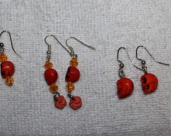Day of the Dead Skull Earrings Oranges