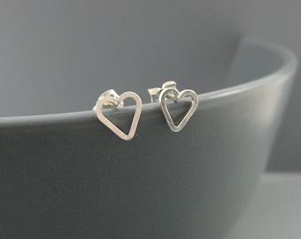Tiny Heart Earrings - open heart stud, sterling silver post earrings, modern minimal jewelry, nickel free, delicate and minimalist