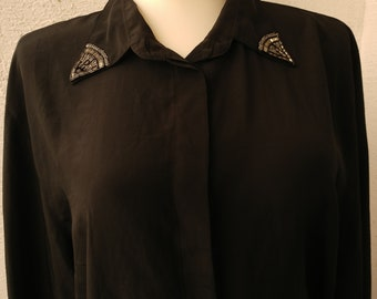 Black Elegant blouse Womens, blouse decorated with beads on collar and cuffs, blouse with long sleeves, blouse Large SIZE  /42-44/, vintage