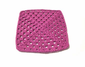 Hot Orchid Crocheted Square Dish Cloth