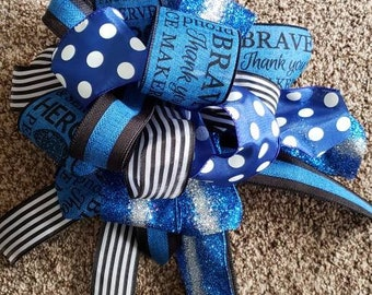 Decorative Police Bow-over the top bow project accent bow police ribbon ribbon bow loopy bow floral decor door hanger bow police support bow