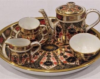 Miniature Royal Crown Derby IMARI Tea Set, Immaculate As New