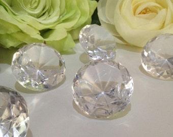 "50 carats Jumbo Acrylic Diamond Gems 1 1/2"" Diameter 5pc, Large Diamonds Table Scatters, Wedding Diamond Gems,"