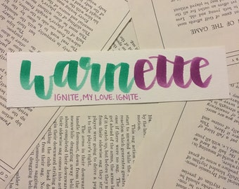 Warnette Handlettered Bookmark Inspired by the Shatter Me aeries by Tahereh Mafi