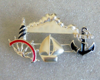 Nautical  Pin. Lighthouse. Sailboat. Ship Wheel. Boat Anchor And Cloud. Slider Jewelry.