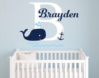 Name Wall Decal - Whale Wall Decal - Nautical Baby Room Decor - Anchor Wall Decal - Nursery Wall Decals Vinyl