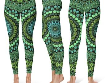 One of a Kind Leggings, Peacock Mandala Yoga Pants, Unique OOAK Gift