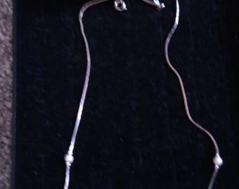 Delicate Vintage Silver Tone & Faux Pearl Chain
