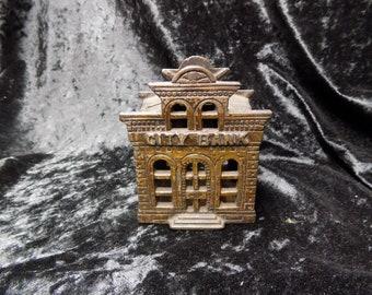 Antique Cast iron Victorian city bank Money box