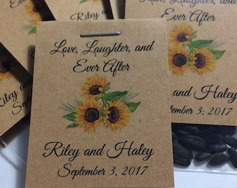 Personalized Custom Sunflower, 25 Seed Favors RUSTIC Watercolor Wedding Bridal Baby Birthday Party Favors Kraft or White