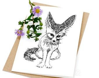 Fennec Fox Card / Animal Illustration Card / A6 Greeting Card