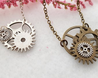 Steampunk Gear Necklace, Bicycle Gear Necklace, Bike Gear Jewelry, Bronze Silver Gears, Steampunk Gears, Bicycle Charms, Steampunk Gifts