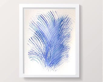 Abstract  watercolor painting, Original feather abstract art Print, contemporary art, Blue/purple modern art, nursery art or wall art