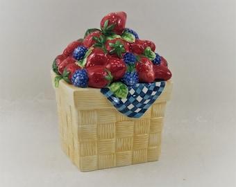 Vintage Strawberry Basket Cookie Jar