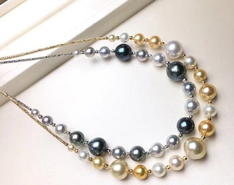 Fine Pearl Necklace Salt Water Pearl Necklace Tahitian Pearl Necklace Gold Pearl Necklace Akoya Pearl Necklace Australian Pearl Necklace