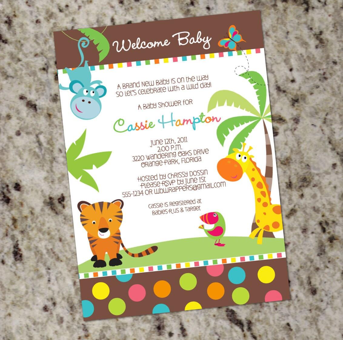 Jungle Animal Baby Shower Invitation Neutral Baby Shower