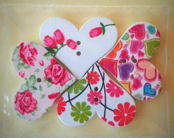 4 buttons, wood, heart, 30x20mm 4 varied and different colors, sewing, scrapbooking, deco, customization...