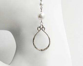 Long Dangle Pearl Earring Swarovski Pearl Earring Hand Hammered Earring Long Hoop Earring Elegant Silver and Pearl Earring Wedding Earring