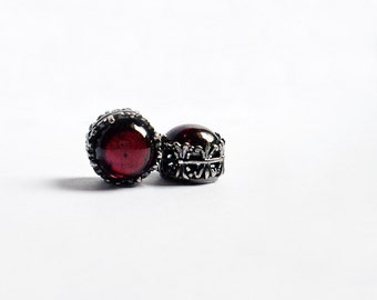Small Garnet stud earrings // garnet earrings red stud earrings garnet jewelry // january birthstone gift wife girlfriend sister