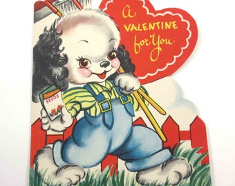 Vintage Children's Novelty Valentine Greeting Card with Cute Dog Planting Seeds Gardening Garden by American Greetings