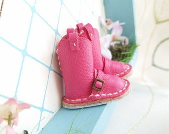 Mini Fuchsia Hot Pink Leather Riding Boots Neo Blythe Azone Pureneemo M S Size Hand Made By MizuSGarden