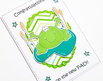 New Home Card, New Pad, Frog Pun, Cartoon, Congratulations, Moving House, Handcrafted
