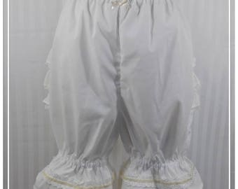 Ivory fancy ruffle knee length bloomers steampunk lolita adult women