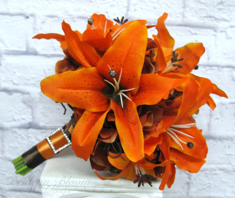 Tiger lily wedding bouquet silk bridal bouquet orange brown zoom izmirmasajfo