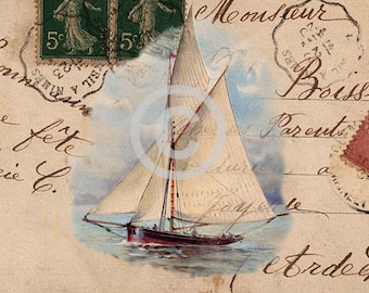 Vintage Printable Sailboat, Printable Sailing Gift Tags, French Digital Collage, Large Images, Digital Download, Transfer Images, Sailboat