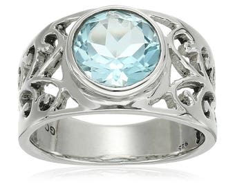 Sterling Silver Sky Blue Topaz Solitaire Ring, Size 7