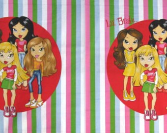 "Lil Bratz Zootastic Stripe Fabric Panel 36""X44"" --- Pillow, Quilt or Wallhanging --- 100% Cotton Fabric"