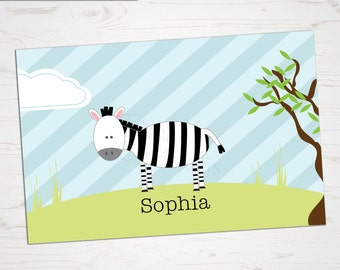 Children's Placemat - Zebra Placemat - Personalized with Child's Name - Custom Placemat