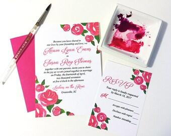 "Watercolor Wedding Invitation Card - Rose Wedding Invitation RSVP Response Card ""Rose Garden"" Pink Wedding Invitation - Watercolour Wedding"