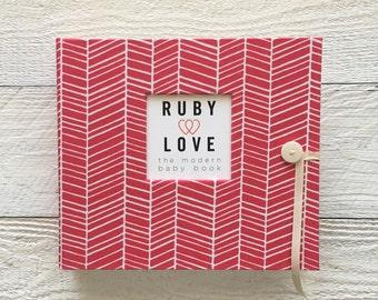 BABY BOOK | Hot Pink Herringbone Album