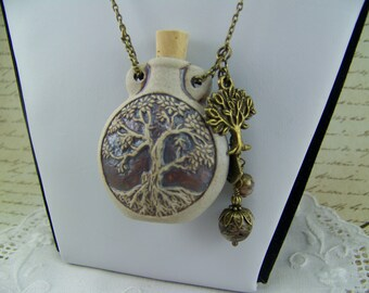 Tree of Life Necklace, Bottle Necklace, Tree of Life Flask, Bronze Tree of Life, Vessel Necklace, Flask,  Perfume Oil Necklace, Ash Urn