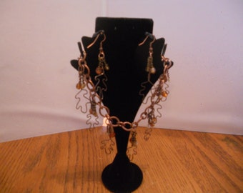 Brown Maple Leaf Blacelet and Earring Set