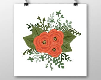 Vermilion Flowers Illustration