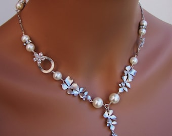 18 inch chained necklace with orchid silver and pearls with drop pendant