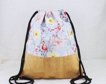 Cork Gymbag-flamingo flower in light blue