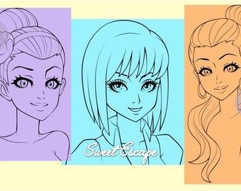 Hair style Version 2 (Digi Pack)  3 digis